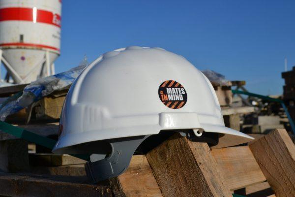 Mates in Mind construction site helmet sticker